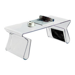 Modway - Modway Coffee Table, Clear - Coffee table features a beautiful integrated footrest that doubles as storage space for magazines and other print material. This piece also makes a great side table.
