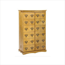 Leslie Dame - Leslie Dame Library Style Multimedia Storage Rack in Oak - Leslie Dame - CD & DVD Media Storage - CD612L - This is a deeper version of the popular retro-designed Librarians card file cabinet. Features: