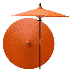 "Oriental-Décor - Passionfruit patio umbrella - Knowledge and kinship are both associated with the color orange. Spice up your outdoor area and add life to your surroundings with this magnificent and brilliant patio umbrella.    - 7 foot umbrella pole constructed of rich stained oak hardwood.  - Each umbrella is entirely handcrafted down to the finest detail.  - Oil-treated cotton umbrella shades are all hand-painted by our master artists.  - Dual position shade height allows for full coverage or a better view of the painted shade.  - Waterproof and weatherproof.  - Two-piece pole fastens securely with a polished metal coupling.  - Pole diameter of 1.5"" easily fits into any standard size umbrella base or table.  - Optional umbrella base available - handcrafted from stained oak hardwood."