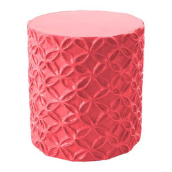 Handmade Floral Stool or Accent Table, Pink