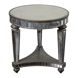 Uttermost - Uttermost Uttermost Occassional Table in Distressed Ebony Stained Wood - Shown in picture: Distressed Ebony Stained Wood Inset With Beveled - Antiqued Mirrors. Distressed - ebony stained wood inset with beveled - antiqued mirrors.