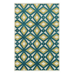 Loloi Rugs - Loloi Rugs Oasis Peacock-Citron Contemporary Indoor / Outdoor Rug X-9332CXXP40-S - Boldly designed and brightly colored, our Oasis Collection transforms any outdoor space into a modern patio paradise.This collection is power loomed in Egypt, ensuring precision in color and design for each and every piece. And because the 100% polypropylene yarns are specially tested to withstand UV rays and rain, it's the perfect all-weather rug.