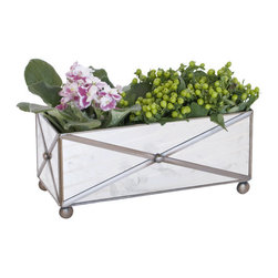 Worlds Away Rectangular Crosshatch Antique Mirror Planter - Rectangular Crosshatch Antique Mirror Planter