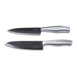 Casa Neuhaus - Casa Neuhaus Knives Set - 5 Inch Utility & 7 Inch Chef's Black Ceramic Blade - Casa Neuhaus is a company based in Greenpoint Brooklyn. These set includes our 5 inch Utility Knife and our 7 inch Chef's Knife. Both featured our super sharp black ceramic blade and our unique stainless steel handle. Our ceramic knives are made of 8.5 Mohs strength Zirconia. A diamond is grade 10 in the Mohs scale of mineral hardness, steel ranges from 7.5 to 8. Casa Neuhaus knives are 8.5 which means that our hard edge knives rarely need any sharpening.