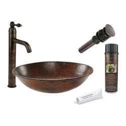 Premier Copper Products - Oval Wired Rimmed Vessel Sink w/ ORB Faucet - PACKAGE INCLUDES: