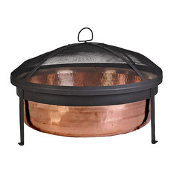 CobraCo SH101 Hand-Hammered Copper Fire Pit with Screen and Cover - Crazy about copper? This fire bowl would make a great cookout centerpiece.