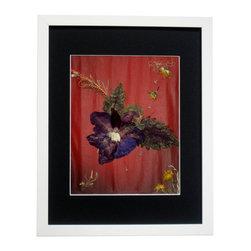 """Summer Glory, Oshibana Art - Oshibana (pressed plants) artwork in a 12"""" x 15"""" white frame."""