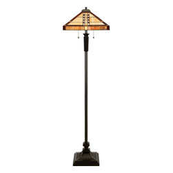 Quoizel - Quoizel TF9406VB Bungalow Tiffany Floor Lamp - A classic Arts & Crafts piece with a simple geometric pattern in hues of cream and honey.