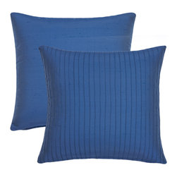 Rose Tree - Blue Willow Decorative Throw Pillows (Set of 2) - These beautifully blue throw pillows offer a quilted pattern and a removable cover. For added convenience these pillows have a zipper closure.