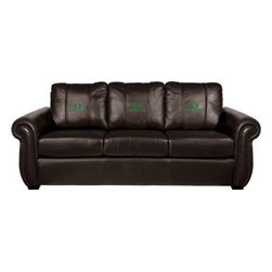 Dreamseat Inc. - University of Oregon NCAA Alt Logo Chesapeake Brown Leather Sofa - Check out this Awesome Sofa. It's the ultimate in traditional styled home leather furniture, and it's one of the coolest things we've ever seen. This is unbelievably comfortable - once you're in it, you won't want to get up. Features a zip-in-zip-out logo panel embroidered with 70,000 stitches. Converts from a solid color to custom-logo furniture in seconds - perfect for a shared or multi-purpose room. Root for several teams? Simply swap the panels out when the seasons change. This is a true statement piece that is perfect for your Man Cave, Game Room, basement or garage.