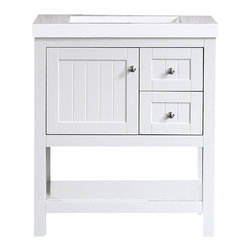 """Ari Kitchen And Bath - Emily 30"""" Cottage Style Bathroom Vanity  - Light Grey - Beautiful cottage style bathroom vanity by Ari Kitchen and Bath, a new brand manufacturing quality bathroom decor at affordable prices. The new 30"""" Emily comes with a ceramic squared basin, soft-closing drawers and door, concealed drawer hinges, and light grey solid wood bathroom cabinet. Absolutely no MDF or Particle board on all of our bathroom vanities. All of our bathroom vanities come assembled by the manufacturer, minimal assembly required. NOTE: countertop sink is pre-drilled for an 8"""" faucet, not one hole faucet like picture."""
