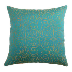 "The Pillow Collection - Makemo Dots Pillow Aqua/Gold 18"" x 18"" - Add this chic and stylish throw pillow in your home. Change up your decor with this sophisticated and vibrant accent pillow. This square pillow features floral dot print pattern in aqua/gold combination. The satiny texture of this decor pillow creates a luxurious effect. Pair this with other bright-pillows to liven up the atmosphere. This 18"" pillow is made from 100% shiny polyester fabric. Hidden zipper closure for easy cover removal.  Knife edge finish on all four sides.  Reversible pillow with the same fabric on the back side.  Spot cleaning suggested."