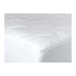 "Living Healthy Products - 370-Thread-Count Mercerized Cotton Mattress Pad - 370-Thread Count 100% mercerized cotton jacquard window pane quilted mattress pad generously filled with hypoallergenic polyester spiral spun fibers. Fully quilted top and sides to protect your mattress. Knit flex bedskirt that fits up to a 22"" mattress. Easy care machine washable and dryable."