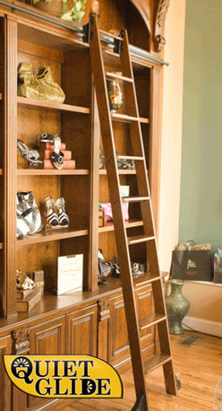Rolling Library Ladder Kit, 8' Cherry - Ignore the background in this shot; look at that great ladder.