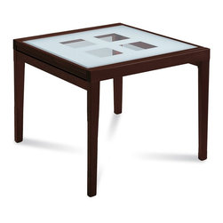 Domitalia - Poker-B90 Square Table - Wenge Frame - Screen Printed Glass Pattern Top - If you've been dealt too many guests and need some extra eating space, direct them to the Domitalia Poker-B90 Counter Table. Useful and modern, this counter table's tempered glass surface can extend to give you more space for eating - or dealing if a poker game starts up. The Domitalia Poker-B90 Counter Table is perfect for a small eating space, or if you want to use your kitchen counters for preparation. It's made of a beechwood frame and finished in rich, deep wenge. Pull up some Domitalia Scala-sgb Counter Stools and you'll have a winning pair.
