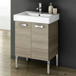 ACF - 23 Inch Vanity Cabinet With Fitted Sink - Set Includes:. Vanity Cabinet (2 Doors). High-end fitted ceramic sink. Kit of 4 polished chrome feet (7.9 inch ). Vanity Set Features . Vanity cabinet made of engineered wood. Cabinet features waterproof panels. Vanity cabinet in wenge, larch canapa, grey oak, glossy white finishes. Vanity cabinet features two easy-to-open doors. Chrome door handles elegantly completes vanity surface. Faucet not included. Perfect for modern bathrooms. Made and designed in Italy. Includes manufacturer 5 year warranty.