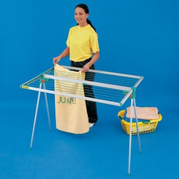 TWIST Portable Clothes Line Dryer - Whether you set up the TWIST Portable Clothes Line Dryer in your laundry room or carry it out to the garden, one thing's for sure - you'll be glad you have it. Extremely durable but very lightweight, the TWIST is constructed of anodized aluminum and features polyamide plastic parts. Open it up completely and you've got 45 feet of hanging space. Want to move it outside? The drying rack folds over for easy transport. There's even mounting hardware included in case you want to permanently hang it up. It collapses down to nearly nothing, just a small, compact item to hang on a hook.About Exaco USA Exaco USA Ltd. is a family-owned company based in Austin, Texas, that introduced the Exomixer paint mixing blade to the U.S. market in the late 1980s. The company has been a vendor to major home center chains and national distributors for 17 years, providing a variety of innovative products for your yard and outdoor living.