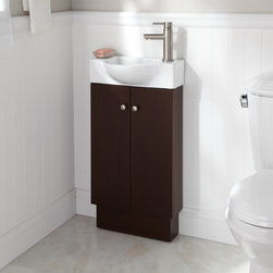 "18"" Utica Vanity - Wenge - The Utica Vanity is perfect for diminutive bathrooms thanks to its smart, compact design featuring a ceramic sink."
