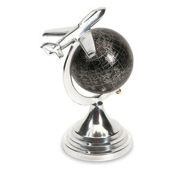 """Imax Worldwide Home - Hadwin Small Airplane Globe - Made of high quality aluminum, the small Hadwin airplane globe is made from a superior casting to create this unique traveler's pick! Add to any living or desk area for an accent that is sure to please!; Materials: 65% Aluminum, 35% Plastic; Country of Origin: India; Weight: 0.95 lbs; Dimensions: 9.5""""H x 5""""W x 7.25"""""""