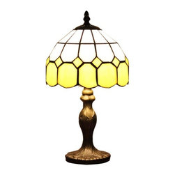 Vintage Tiffany Yellow Glass Bedside Table Lamp - Vintage Tiffany Yellow Glass Bedside Table Lamp
