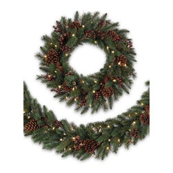 Balsam Hill California Baby Redwood™ Rustic Decorated Wreath and Garland - THE MAJESTIC BEAUTY OF BALSAM HILL'S CALIFORNIA BABY REDWOOD™ RUSTIC WREATH AND GARLAND |