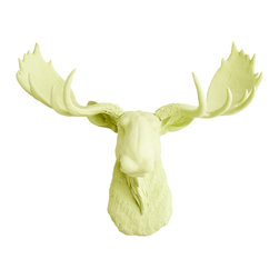 White Faux Taxidermy - The Oddley - Antique White Faux Resin Moose Head, Mint Green - Measurements: