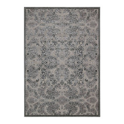 """Nourison - Nourison Graphic Illusions GIL05 2'3"""" x 3'9"""" Grey Area Rug 13114 - With the wonderful texture of high-low loop pile and flawless hand carving, this exquisite area rug is the epitome of elegance. Its tone-on-tone damask design is anything but basic in bewitching black and ultra-chic charcoal."""
