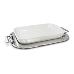 Cuisinox - Cuisinox 17 x 11in. Porcelain Baker Set - A pure white oven proof porcelain baker set into a mirror polished Cuisinox stainless steel tray will certainly compliment any dinner table. Impress your guests with your evenly baked lasagna, risotto or any casserole directly from the oven to the table. The tray may also be used separately. The porcelain baker is dishwasher, freezer, and oven proof.