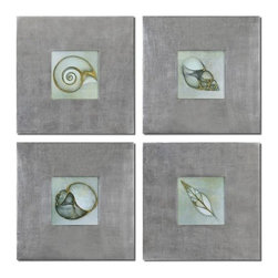 Uttermost - Uttermost 41372 Neptunes Garden Wall Art - Uttermost 41372 Neptunes Garden Wall ArtPrints are outlined with metallic accents. Frames feature a champagne silver leaf base with a light brown glaze.Uttermost 41372 Specifications: