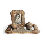 Decorative Home - Mirror Glass and Goldtone 3-piece Vanity Set - This gorgeous three-piece vanity set is sure to stand out and enhance your decor. Featuring goldtone accents that give it an elegant look,this set comes with a picture frame,small jewelry box,and large mirror tray that is sturdy and eye-catching.