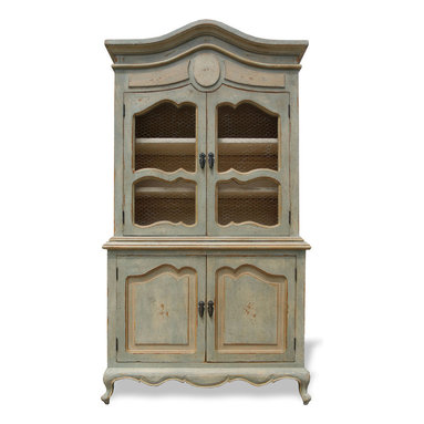 Bordeaux Hutch, Pale Turquoise - Bordeaux Hutch, Pale Turquoise Distressed with Cream Undertones and Golden Accents,