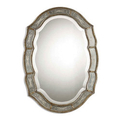Fifi Mirror - Delicate floral etchings bestow a gracious beauty to the Fifi Mirror. The narrow inner and outer frames are finished in a heavily antiqued gold leaf and the center mirror boasts a generous bevel, all of which creates the allure of an old-world heirloom. Placed within a boudoir, private bath, grand hall, or great room, the mirror may be hung horizontally or vertically, as is your preference.