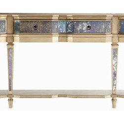 Carlita Mirrored Console - This console has a textured mirror detailing that adds a bit of glamour to a room.