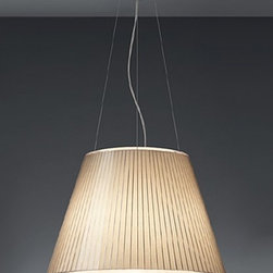 """Artemide - Artemide Choose Mega pendant light - The Choose Mega pendant light from Artemide has been designed by Matteo Thun in 2008. This suspension mounted luminaire is great for direct and diffused incandescent or fluorescent lighting. The Choose is composed of a grey thermoplastic canopy, clear electrical cords and a stainless steel cable The shade of this lamp is made from transparent polycarbonate with a pleated design incorporating an optional insert in red polycarbonate, parchment paper or with no insert at all UL listed.  Product Details:  The Choose Mega pendant light from Artemide has been designed by Matteo Thun in 2008. This suspension mounted luminaire is great for direct and diffused incandescent or fluorescent lighting. The Choose is composed of a grey thermoplastic canopy, clear electrical cords and a stainless steel cable The shade of this lamp is made from transparent polycarbonate with a pleated design incorporating an optional insert in red polycarbonate, parchment paper or with no insert at all UL listed.  Details:      Manufacturer:    Artemide      Designer:    Matteo Thun      Made in:    Italy      Dimensions:    Height: max 78.75"""" (200 cm) Diameter: 21 11/16"""" (55 cm)      Light bulb:    3 X 100W incandescent or 1 X 32W fluorescent      Material:    Stainless steel, Thermoplastic, Polycarbonate"""