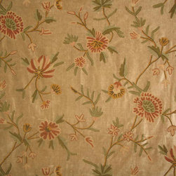 Crewel Fabric World by MDS - Crewel Fabric Warsi Coral Brown Cotton Velvet - Inspiration: Warsi is a pattern inspired by the artisans of Kashmir who made crewel embroidery. The word Warsi is a popular last name in Kashmir.