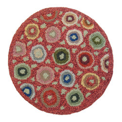 Cottage Home - Cottage Home Red Coin Wool Chair Pad - This Red Coin chair pad adds a fun decorative look for any room of the house or even outdoors. Handmade in India,this chair pad offers beautiful hues on a red background,a round shape and quality wool construction.