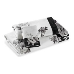 Lenox - Lenox Moonlit Garden Bath Towel in 27-Inch x 50-Inch - The Moonlit Garden bath collection will set a sophisticated, romantic ambiance in any bathroom. This towel features a beautiful floral motif in soft charcoal and black against a crisp white background.