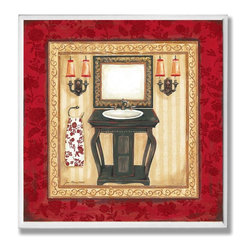 Stupell Industries - Red Damask Sink Wall Plaque - Made in USA. Ready for Hanging. Hand Finished and Original Artwork. No Assembly Required. 12 in L x .5 in W x 12 in H (2 lbs.)Point your guests in the right direction with elegant bathroom plaques from The Stupell Home decor CollectionEach plaque comes with a sawtooth hanger for easy installation on bathroom doors or walls.