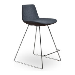Inmod - Para CSB Counter Stool (Set of 2), Grey Fabric - The Para CSB Counter Stool has sleek lines that would be equally impressive in a restaurant or at home.