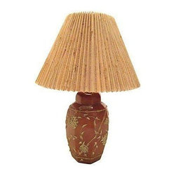 Pre-owned Ceramic Ginger Jar Lamp - A bold dodecagonal (What's that, you say?...It's 12 sides!) ginger jar table lamp. This early 20th century lamp has a key-style on/off switch and a knife pleated grasscloth shade. The lamp base is felted to protect furniture. The lamp is wired and in working condition. The lamp is in overall good condition, but it has one interior crack to the shade (moderately visible--keep to back).