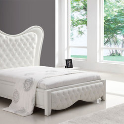 Elegant Leather Designer Furniture Collecion feat. High Headboard - Sofia modern white bedroom set with unusual headboard bed. Urban NYC style bedroom set. As modern as it gets. White leather bed - what can you say more?