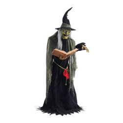 Grandin Road - Life-size Spell Casting Witch Animated Halloween Figure - Halloween Decorations - Animated Spell Casting Witch is tall and dressed in tattered togs. An infrared sensor prompts the figure to turn side-to-side and move her mouth as she utters three unsettling spells. Flashing green lights inside the spell book cast a haunting glow on the witch's face and lighted eyes. 6 feet tall for creating a really big scare at your next fright-night affair. Convenient volume control. Amaze and surprise Halloween party guests and trick-or-treaters with the frightfully animated Spell Casting Witch. Everyone will be spellbound, as she pivots ominously back and forth, with white eyes glowing brightly, delivering three spooky spells chockfull of spine-chilling phrases from her illuminated spell book. Park her on your porch, in the entryway or in a surprising spot your guests will not expect to see her a?? and watch out! She'll begin casting spells as soon as her sensor is triggered.  .  . .  .  .  . Plugs in to any standard outlet with the included adaptor. Assembly required; instructions included. Recommended for display in a covered area .