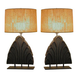 R.T. Facts - Pair of Funky Rock Lamps with Cork Shades - These attention-getting lamps celebrate the offbeat and original with their diverse combination of materials, yet still manage to present themselves as classic, well-appointed pieces. Perfect for your den or library, ideal for the bedroom, these lamps allow you to get a little funky with your design choices while always remaining in good taste.