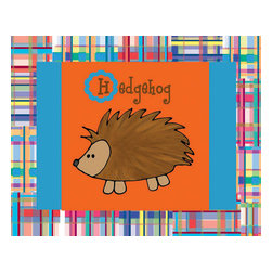 Oh How Cute Kids by Serena Bowman - Hedgehog with Madras Border, Ready To Hang Canvas Kid's Wall Decor, 11 X 14 - Every kid is unique and special in their own way so why shouldn't their wall decor be so as well! With our extensive selection of canvas wall art for kids, from princesses to spaceships and cowboys to travel girls, we'll help you find that perfect piece for your special one.  Or fill the entire room with our imaginative art, every canvas is part of a coordinating series, an easy way to provide a complete and unified look for any room.