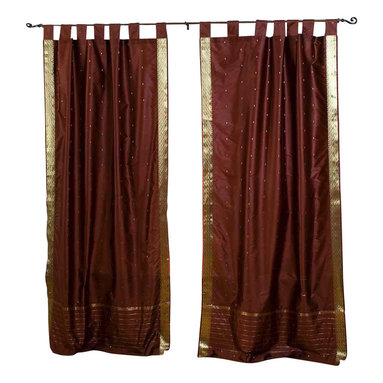 Indian Selections - Pair of Brown Tab Top Sheer Sari Curtains, 43 X 63 In. - Size of each curtain: 43 Inches wide X 63 Inches drop.