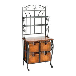 Home Decorators Collection Iron/Wicker Baker's Rack - A classic baker's rack gives you extra storage for dish towels, cookbooks and more. It can also double as a mini bar.