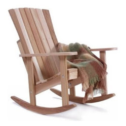 All Things Cedar Athena Adirondack Rocking Chair - Comfortable quiet outdoor rocking. The Athena Rocking Chair is crafted from clear grain Western Red Cedar materials which is resistant to moisture and will repel insects more than other comparable wood types. You may leave this chair unfinished to weather to a silver patina or finish it to retain its original color. The completely rounded edges add to the comfort of this traditional-style rocker. The zinc-plated hardware is resistant to rust. Hand-crafted for snug-fitting joinery this rocking chair is built to last. Pre-drilled holes and fully illustrated instructions make assembly easy. Place your order for the Athena Rocking Chair for yourself or a loved one today. Makes a GREAT gift!About All Things CedarA world leader in fine patio furniture garden furniture and other accessories All Things Cedar is a smart choice for your outdoor needs. They offer an extensive line of unique items made from high-quality weather-resistant woods including clear-grade cedar teak and more. Their items are designed with care in timeless fashions that are sure to enhance your space. All Things Cedar prides themselves on fine customer service and dependable products.