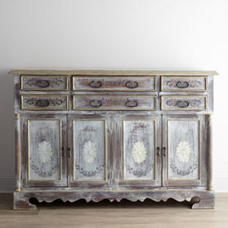 Horchow - Victoria Entertainment Chest - Big on style and storage, this entertainment chest features a nicely shaped apron, gorgeous floral and scroll motif decoration, and dramatically shaped hardware. Made of Peruvian oak and Chilean pine. Hand-painted finish. Six drawers and four doors.....