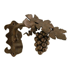 The Merchant Source - Metal Drapery Holdback in Bronze - Grape Vine Design - Set of 2 (Gunmetal) - Finish: Gunmetal. Natural-looking curtain tie-backs are a great addition to your casual or traditional decor. Made of solid forged metal, they feature an authentic grape vine design and come in your choice of popular finish colors. Each tie-back shows refined attention to detail. Set of 2. Bronze finish. Made of Forged Metal. 7.5 in. L x 9.5 in. W x 7.5 in. H (3 lbs.)