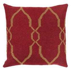 "Surya - Surya FA-019 18"" x 18"" Down Feathers Pillow Kit - A stylish, diamond design gives this pillow it's fashionable design. Colors of red and tan accent this decorative pillow. This pillow contains a down fill and a zipper closure. Add this 18"" x 18"" pillow to your collection today."
